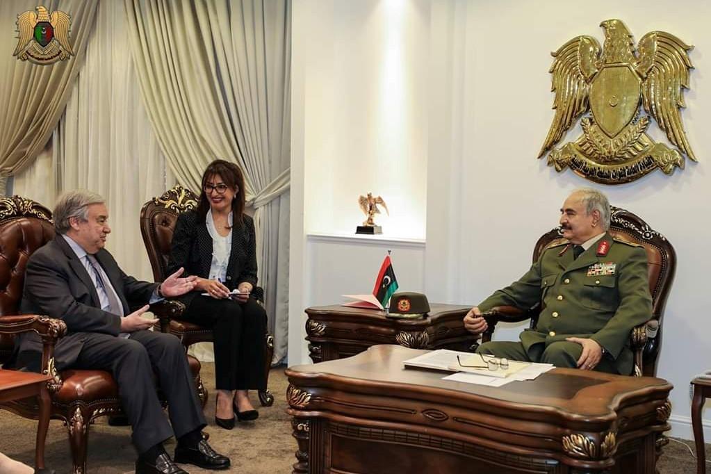حفتر والأمين العام للأمم المتحدة (صورة رسمية)
