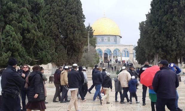 مستوطنون يقتحمون الأقصى والاحتلال يحجبه عن الفلسطينيين