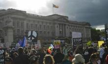 تظاهرات قبالة البرلمان البريطاني احتجاجا على زيارة ترامب