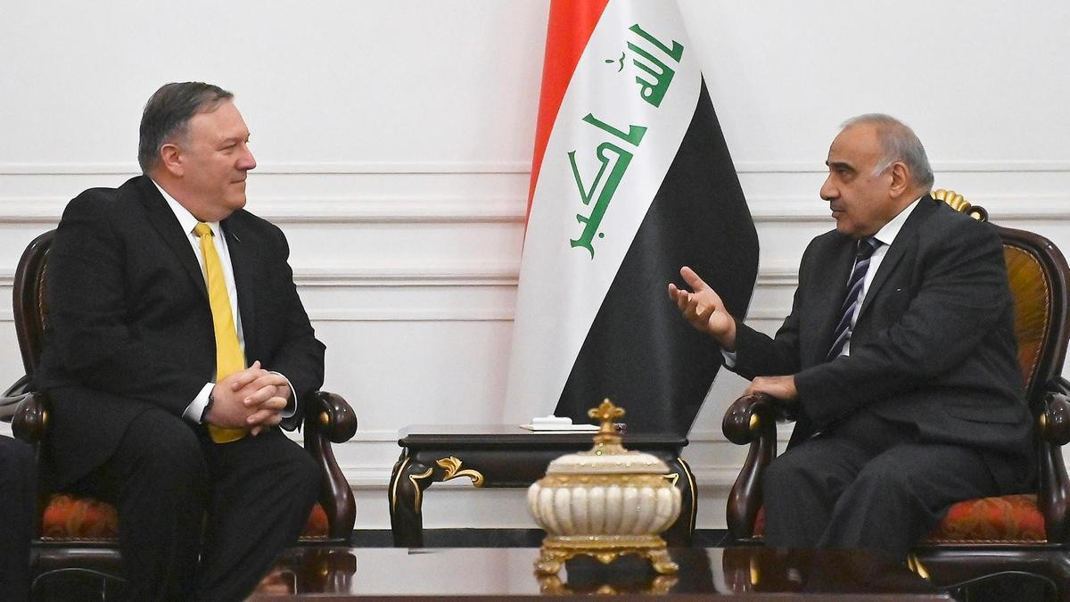عادل عبد المهدي ووزير الخارجية الأميركي (أ ب)
