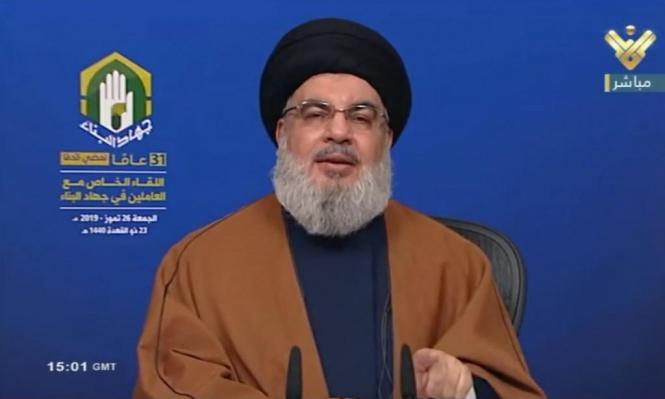 نصر الله ينفي الادعاءات الإسرائيلية بنقل إيران سلاحا عبر ميناء بيروت