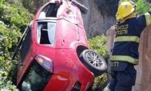 دالية الكرمل: إصابة امرأة ورضيعها في حادث انقلاب سيارة