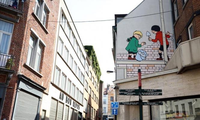 أبطال الرسوم المتحركة تزين مباني بروكسل