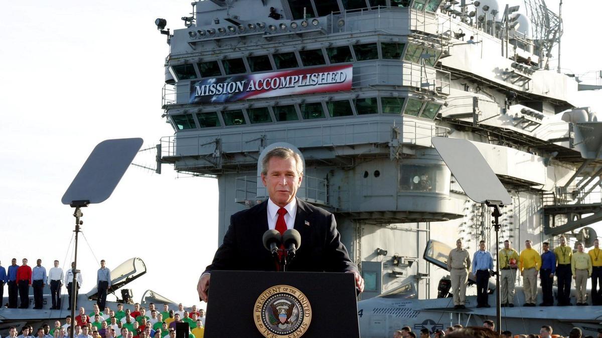 بوش خلال حرب العراق (أ ب)
