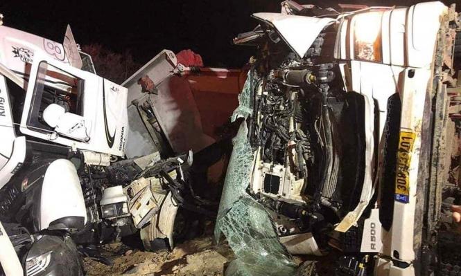 النقب: مصرع حسين أبو قويدر وإصابة خطيرة بحادث بين شاحنتين