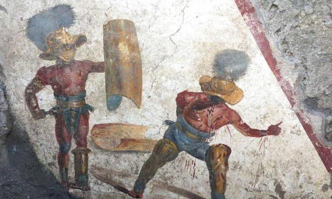 اكتشاف جدارية أثرية في حانة بومبي التاريخية