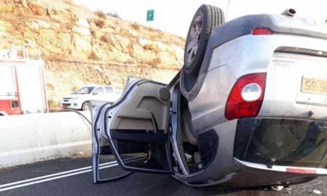 عيلبون: 4 إصابات في انقلاب سيارة