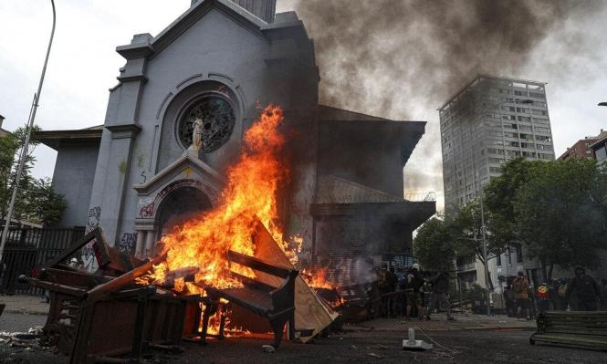 تشيلي: إحراق جامعة ونهب كنيسة خلال المظاهرات
