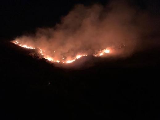 حريق هائل قرب قريتي نين والدحي وإخلاء منازل