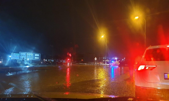 باقة الغربية: مياه الأمطار الغزيرة تغمر الشوارع والحارات