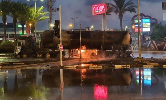 حيفا: حادث طرق يتسبب باشتعال النار بصهريج غاز