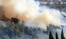 حريق في منطقة وادي عارة: إغلاق شارع وطائرات تشارك بعمليات الإخماد