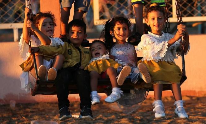 أطفال فلسطينيون يلهون خلال عيد الأضحى في غزة