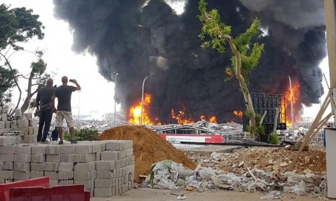 حريق في مرفأ بيروت