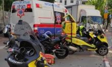 إصابة خطيرة بحادث بين دراجة نارية وشاحنة وسط البلاد