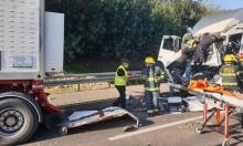 إصابة شاب في حادث بين شاحنتين قرب باقة الغربية
