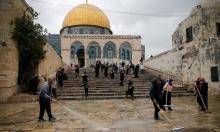 تنظيف باحات المسجد الأقصى استقبالا لرمضان