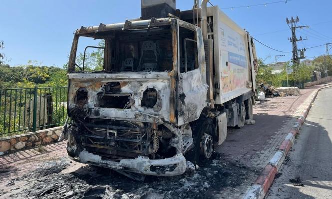 إحراق سيارة جمع النفايات في بسمة طبعون