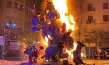 """اختتام مهرجان """"فالاس"""" بفالنسيا للألعاب النارية وحرق المنحوتات"""